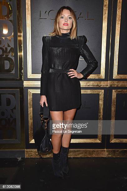 Caroline Receveur attends the Gold Obsession Party L'Oreal Paris Photocall as part of the Paris Fashion Week Womenswear Spring/Summer 2017 on October...