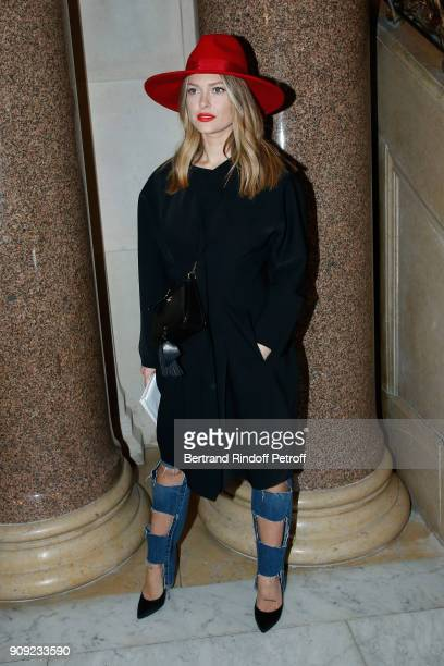 Caroline Receveur attends the Stephane Rolland Haute Couture Spring Summer 2018 show as part of Paris Fashion Week Held at Opera Comique on January...