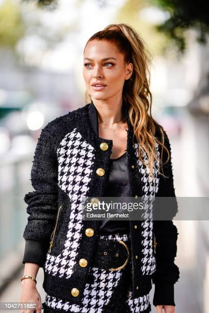 Caroline Receveur is seen outside Balmain during Paris Fashion Week Womenswear Spring/Summer 2019 on September 28 2018 in Paris France