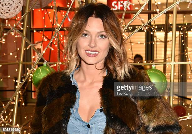 "Caroline Receveur pose with lit Xmas tree during Caroline Receveur Launches ""la Christmas Lights at La Canopee des Halles on November 16, 2016 in..."
