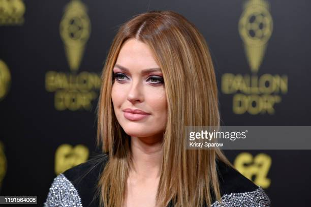 Caroline Receveur poses on the red carpet during the Ballon D'Or Ceremony at Theatre Du Chatelet on December 02 2019 in Paris France