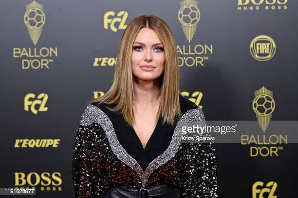 Caroline Receveur poses on the red carpet during the Ballon D'Or Ceremony at Theatre Du Chatelet on December 02, 2019 in Paris, France.