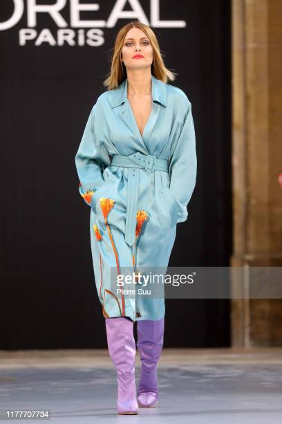 Caroline Receveur walks the runway during the Le Defile L'Oreal Paris Show as part of Paris Fashion Week on September 28 2019 in Paris France