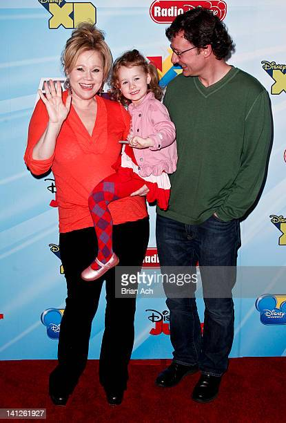 Caroline Rhea Ava Rhea and Costaki Economopoulos attend the 201213 Disney Channel Worldwide Kids Upfront at the Hard Rock Cafe Times Square on March...