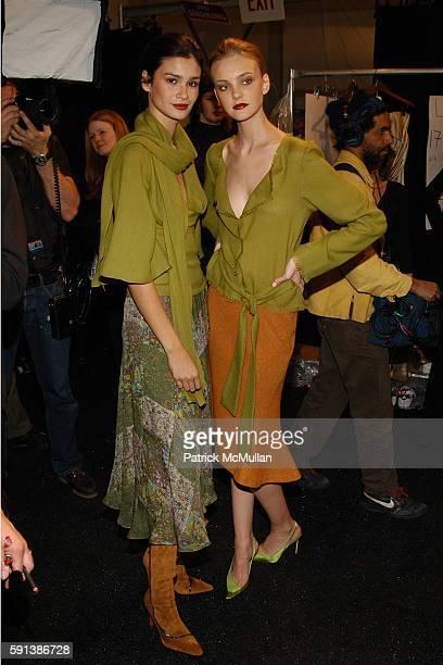 Caroline Ribeiro and Caroline Trentini attend Esteban Cortazar Fall 2005 Fashion Show at The Plaza at Bryant Park on February 6 2005 in New York City