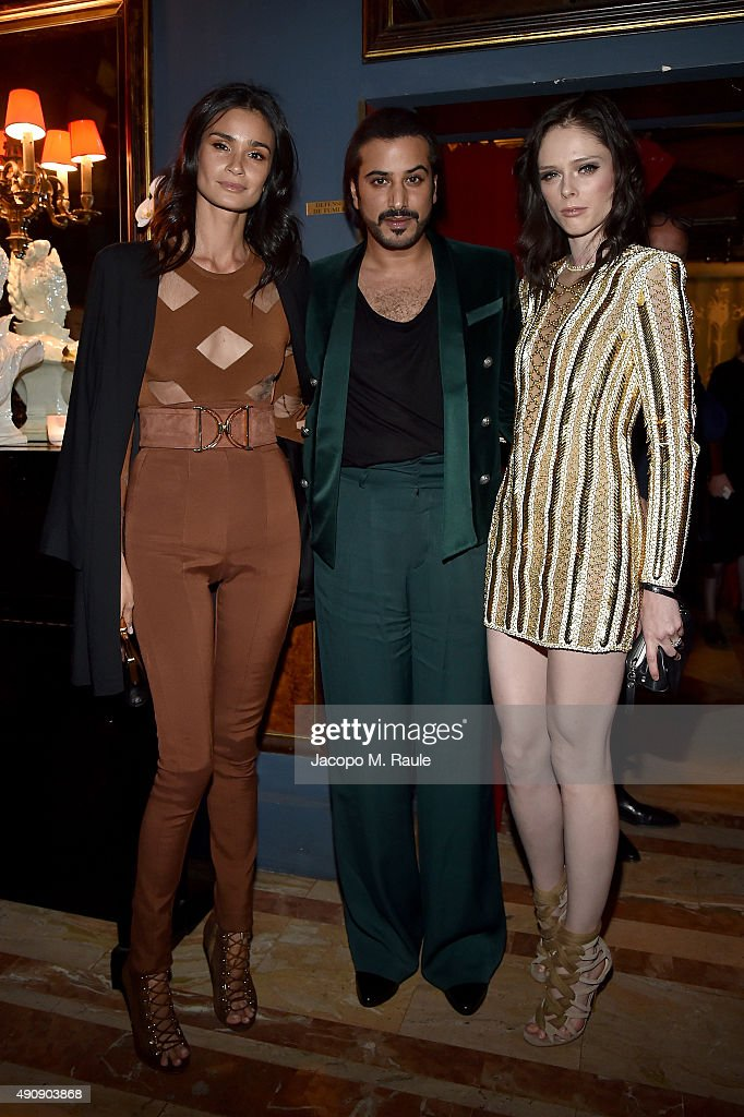 Caroline Ribeiro, Mohamed Sultan and Coco Rocha attend Balmain aftershow party as part of Paris Fashion Week Womenswear Spring/Summer 2016 at Laperouse on October 1, 2015 in Paris, France.