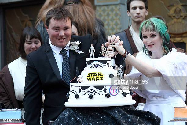 Caroline Ritter and Andrew Porters get married with a Star Wars themed wedding at TCL Chinese Theatre IMAX on December 17, 2015 in Hollywood,...