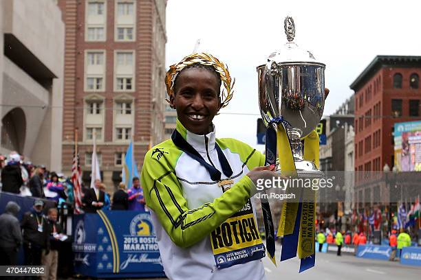 Caroline Rotich of Kenya celebrates after winning the 119th Boston Marathon on April 20 2015 in Boston Massachusetts