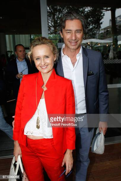 Caroline Roux and General Director of Facebook France Laurent Solly attend the Men Final of the 2018 French Open Day Fithteen at Roland Garros on...