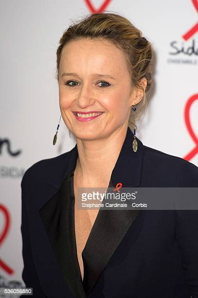 Caroline Roux attends the launch of the 2015 Sidaction held at the Musee du quai Branly on March 2 2015 in Paris France