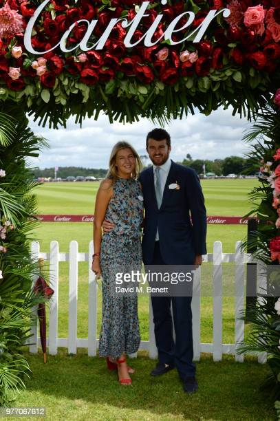 Caroline Rupert and Hickman Bacon attend the Cartier Queen's Cup Polo Final at Guards Polo Club on June 17 2018 in Egham England