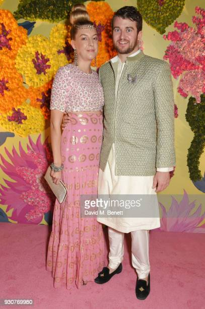 Caroline Rupert and Hickman Bacon attend the Holi Saloni celebrations in the RAAS Devigarh on March 9 2018 in Udaipur India