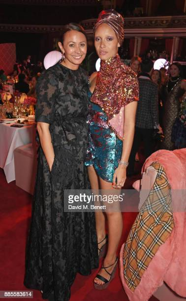 Caroline Rush and Adwoa Aboah attend a drinks reception ahead of The Fashion Awards 2017 in partnership with Swarovski at Royal Albert Hall on...