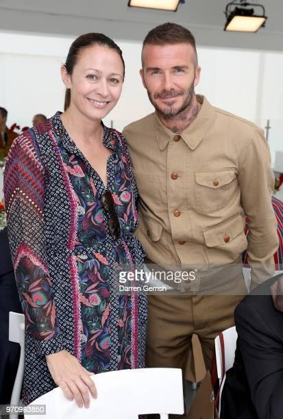 Caroline Rush and David Beckham attend the Kent & Curwen show during London Fashion Week Men's June 2018 at 11 Floral Street on June 10, 2018 in...