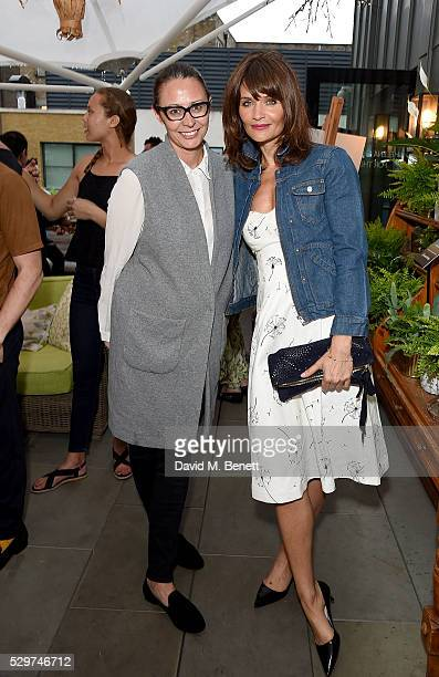 Caroline Rush and Helena Christensen attend the Helena Christensen for Thomson Sensatori event at Ham Yard Hotel on May 9 2016 in London England