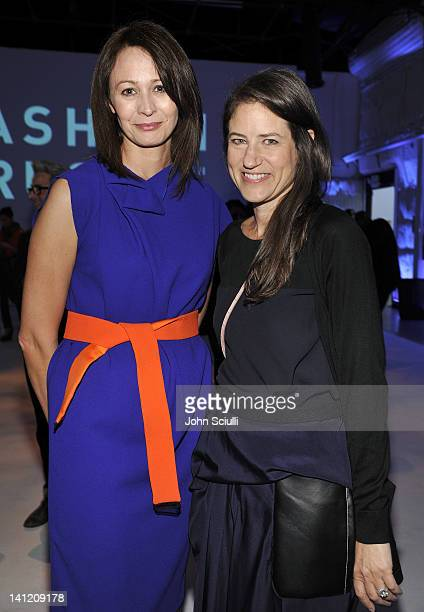 Caroline Rush and Katherine Ross attend the British Fashion Council's LONDON Show ROOMS LA opening cocktail party at Smashbox Studios on March 12...