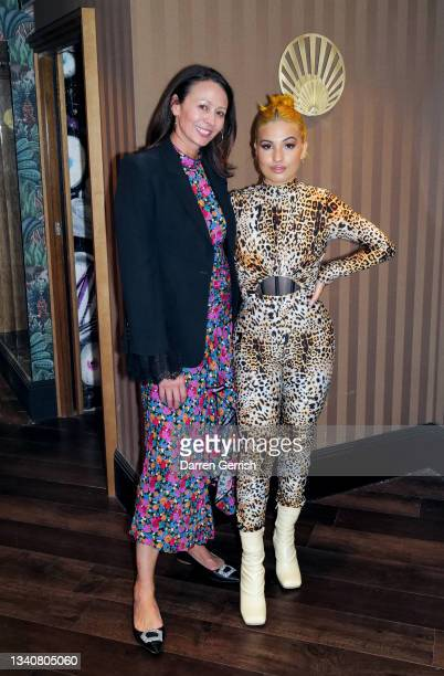 Caroline Rush and Mabel backstage at the LFW opening night party at The Windmill on September 16, 2021 in London, England.