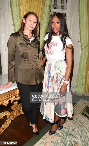Caroline Rush and Naomi Campbell attend The Fashion Awards 2019 and Fashion For Relief special announcement at The Ritz on June 24 2019 in London...