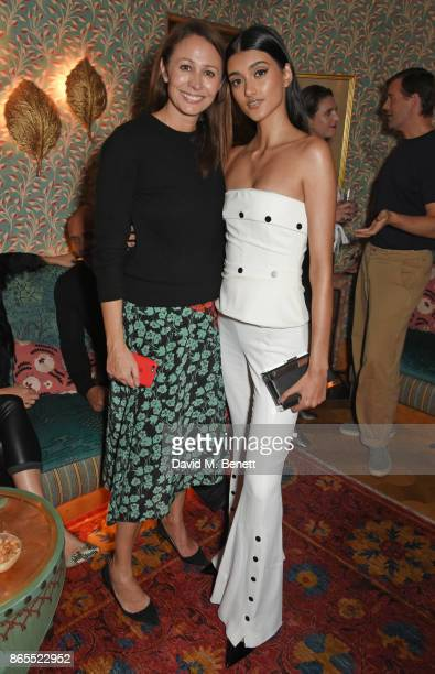 Caroline Rush and Neelam Gill attend The Fashion Awards 2017 nominees party in partnership with Swarovski at 5 Hertford Street on October 23 2017 in...