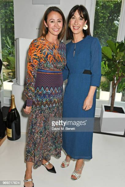 Caroline Rush and Samantha Cameron attend the Moet Summer House VIP launch night on June 7 2018 in London England