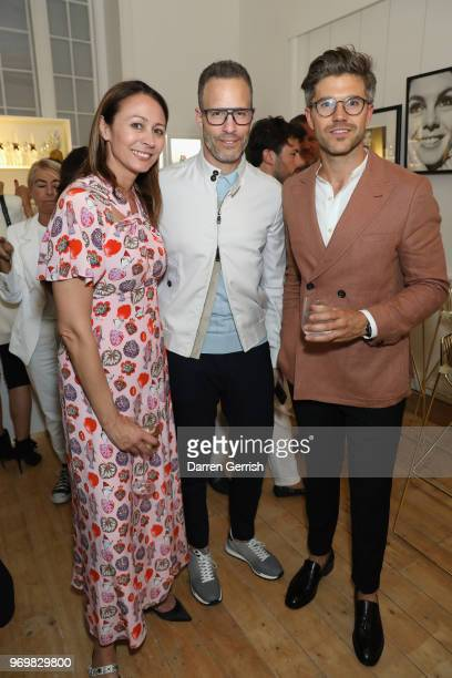 Caroline Rush Andrew Weitz and Darren Kennedy attend the opening dinner for LFWM June 2018 at the Moët Summer House on June 8 2018 in London England