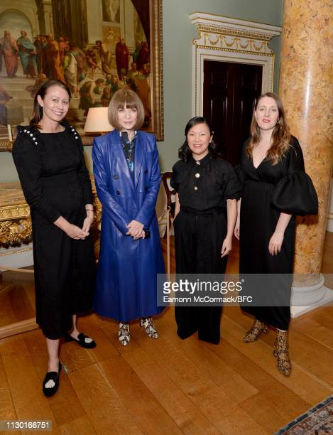 Caroline Rush Anna Wintour Jackie LeeJoe and Amy Powney attend the BFC x BBC Earth x Mother of Pearl Present Positive Fashion during London Fashion...