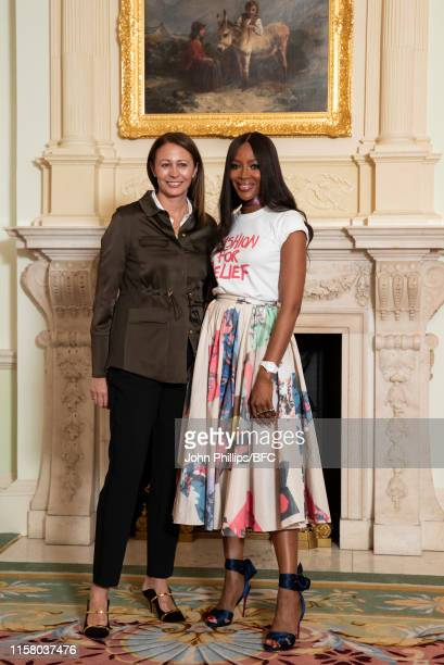 Caroline Rush Chief Executive of the British Fashion Council and Naomi Campbell during the announcement for The Fashion Awards 2019 at The Ritz on...