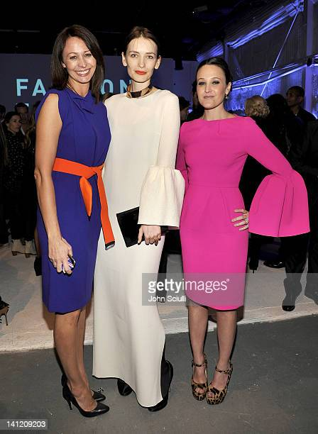 Caroline Rush designer Roksanda Ilincic and a guest attend the British Fashion Council's LONDON Show ROOMS LA opening cocktail party at Smashbox...