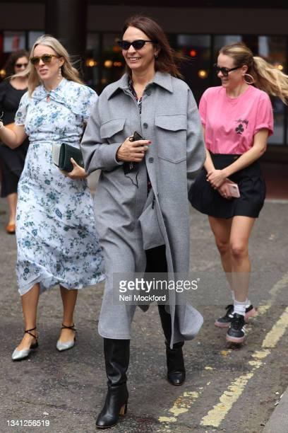 Caroline Rush seen attending Roland Mouret at the Soho Hotel during London Fashion Week September 2021 on September 19, 2021 in London, England.