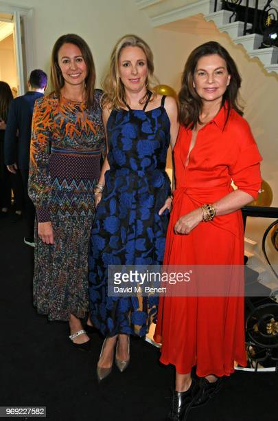 Caroline Rush Stephanie Phair and Dame Natalie Massenet attend the Moet Summer House VIP launch night on June 7 2018 in London England