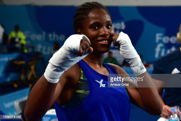 Caroline Sara Dubois of Great Britain celebrates her victory in Women's Light Gold Medal Bout during day 12 of Buenos Aires 2018 Youth Olympic Games...