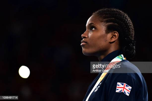 Caroline Sara Dubois of Great Britain in the podium of Women's Light during day 12 of Buenos Aires 2018 Youth Olympic Games at Oceania Pavilion in...