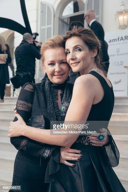 Caroline Scheufele and Clotilde Courau are photographed for Paris Match whilst attending the Amfar Gala at the Eden Roc Hotel on May 25 2017 in...