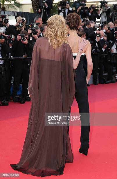 Caroline Scheufele and designer Victoria Beckham attend the 'Cafe Society' premiere and the Opening Night Gala during the 69th annual Cannes Film...