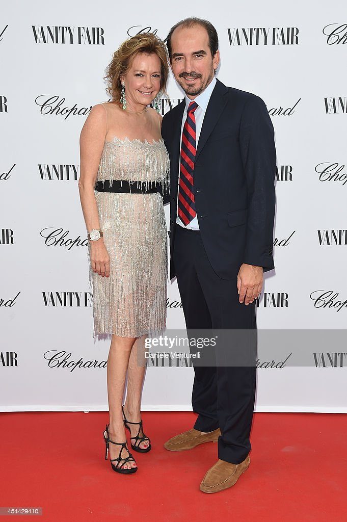 Caroline Scheufele and French Film Director attend the Chopard And Vanity Fair Present 'Backstage At Cinecitta' Exhibition - Red Carpet - 71st Venice Film Festival at Cipriani Hotel on August 31, 2014 in Venice, Italy.