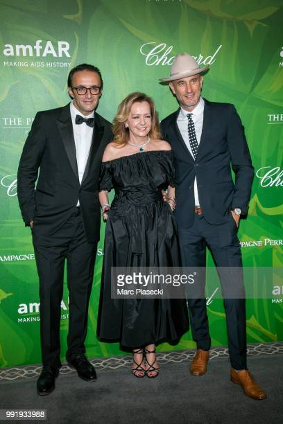 Caroline Scheufele and guests attend the amfAR Paris Dinner 2018 at The Peninsula Hotel on July 4 2018 in Paris France