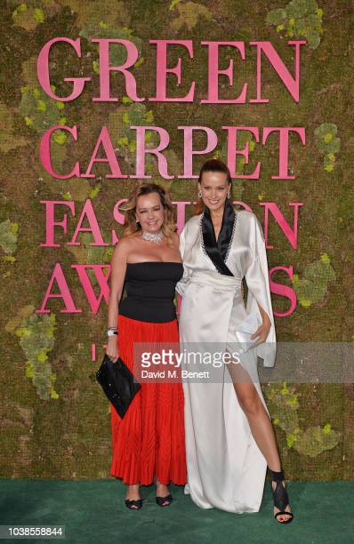 Caroline Scheufele and Petra Nemcova, wearing Genny, attend The Green Carpet Fashion Awards Italia 2018 at Teatro Alla Scala on September 23, 2018 in...