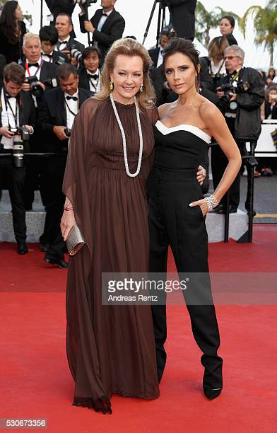 Caroline Scheufele and Victoria Beckham attend the 'Cafe Society' premiere and the Opening Night Gala during the 69th annual Cannes Film Festival at...