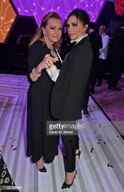 Caroline Scheufele and Victoria Beckham attend the Fashion Trust Arabia Prize awards ceremony on March 28, 2019 in Doha, Qatar.