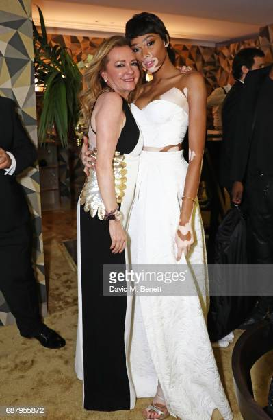 Caroline Scheufele Artistic Director and CoPresident of Chopard and Winnie Harlow attend the Chopard and Annabel's Gentleman's Evening at the Hotel...