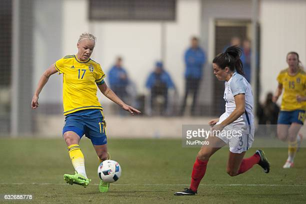 Caroline Seger Claire Rafferty during the preseason friendly match between national women's Sweden vs England in Pinatar Arena San Pedro del Pinatar...