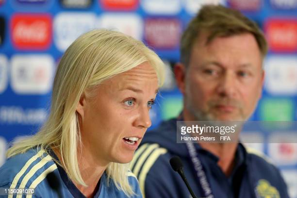 Caroline Seger of Sweden and Peter Gerhardsson Head Coach of Sweden talk to the media during a press conference ahead of their match against Thailand...