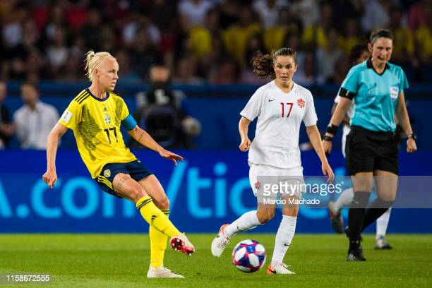 Caroline Seger of Sweden in action against Jessie Fleming of Canada during the 2019 FIFA Women's World Cup France Round Of 16 match between Sweden...