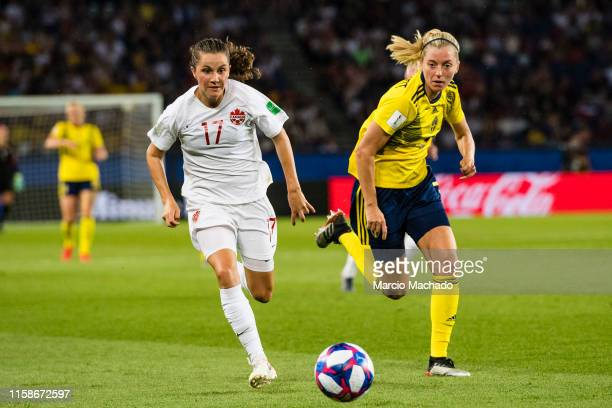 Caroline Seger of Sweden in action against Linda Sembrant of Sweden during the 2019 FIFA Women's World Cup France Round Of 16 match between Sweden...