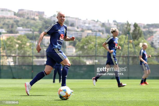 Caroline Seger of Sweden runs through drills during a training session at Stade CharlesEhrmann on June 14 2019 in Nice France