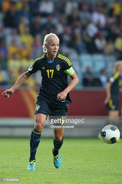 Caroline Seger of Sweden runs with the ball during the UEFA Women's EURO 2013 Group A match between Finland and Sweden at Gamla Ullevi Stadium on...