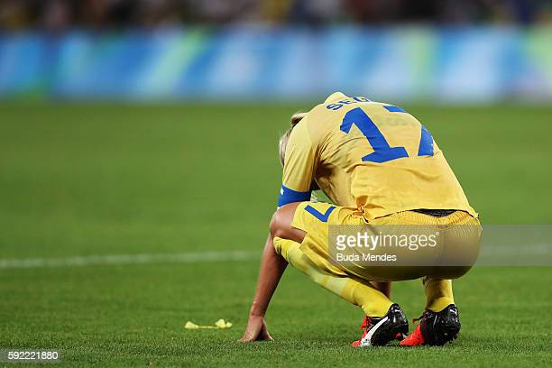 Caroline Seger of Sweden shows her disappointment following her sides defeat during the Women's Olympic Gold Medal match between Sweden and Germany...