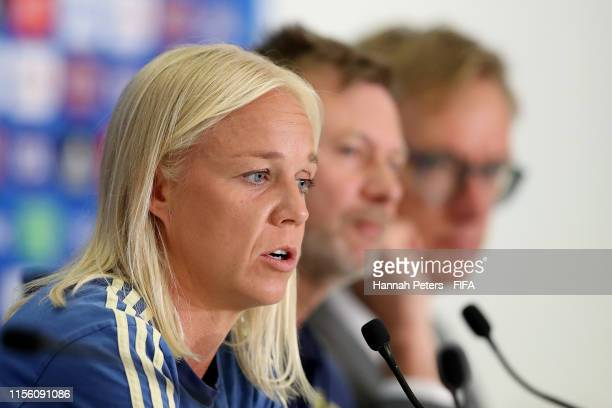 Caroline Seger of Sweden talks to the media during a press conference ahead of their match against Thailand at Stade de Nice on June 15 2019 in Nice...
