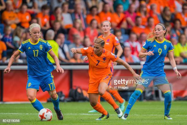 Caroline Seger of Sweden women Shanice van de Sanden of Holland Women Kosovare Asllani of Sweden women during the UEFA WEURO 2017 quarter finale...