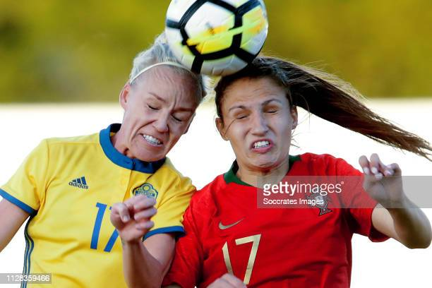 Caroline Seger of Sweden Women Vanessa Marques of Portugal Women during the Algarve Cup Women match between Portugal v Sweden at the Estadio...